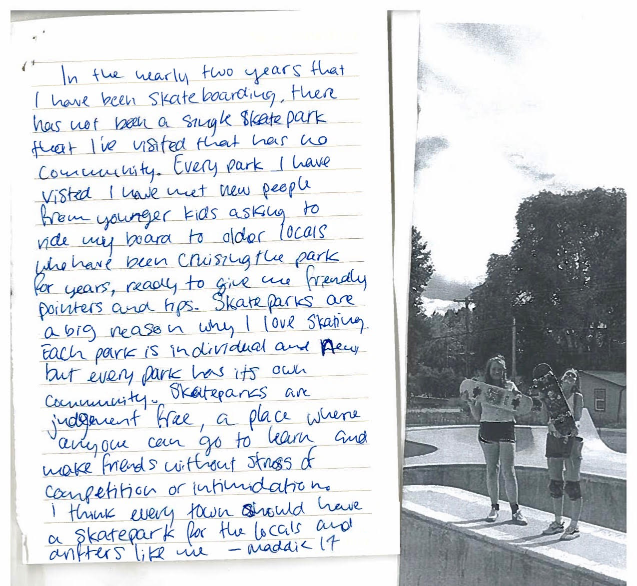Written letter of support from a teen with description of why skating is important to the author, and a photo of two teenage girls holding skateboards at a skate park.